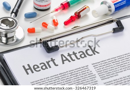 The diagnosis Hyeart Attack written on a clipboard - stock photo