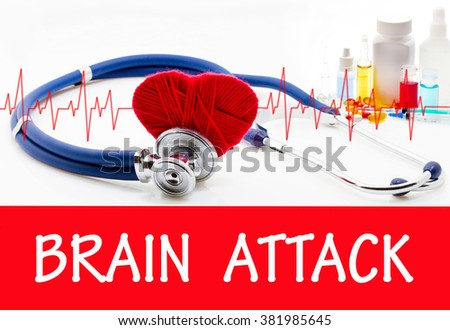 The diagnosis of brain attack. Phonendoscope and vaccine with drugs. Medical concept. - stock photo