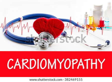 The diagnosis of cardiomyopathy. Phonendoscope and vaccine with drugs. Medical concept. - stock photo