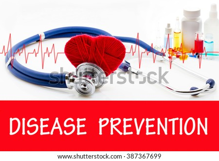 The diagnosis of disease prevention. Phonendoscope and vaccine with drugs. Medical concept. - stock photo