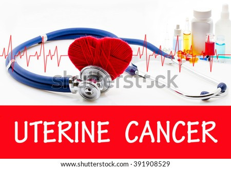 The diagnosis of uterine cancer. Phonendoscope and vaccine with drugs. Medical concept. - stock photo