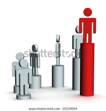 The diagram of growth. 3D image. - stock photo