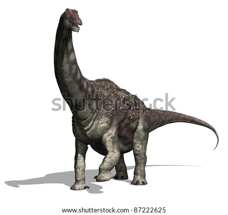 The diamantinasaurus was a very large dinosaur (52 feet long) that lived during the Cretaceous Period - 3d render. - stock photo