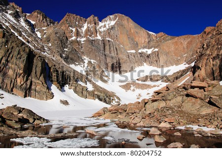 The diamond of Longs Peak in early morning light, from  a still frozen Chasm Lake - stock photo