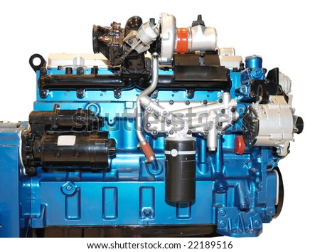 the diesel engine with many details - stock photo