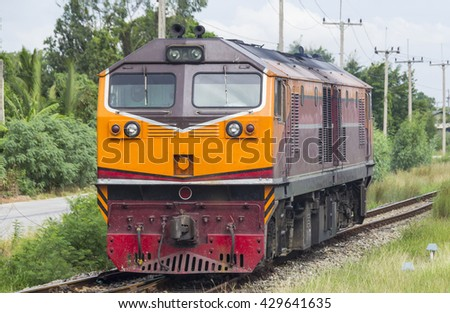 The diesel locomotive with the rough - stock photo