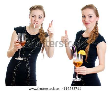 The difference between drunk and sober woman. Isolated on white.