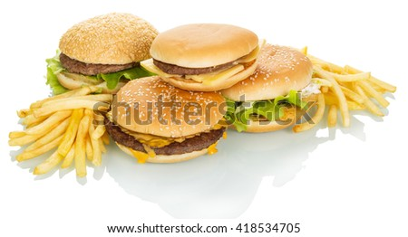 The different hamburgers and french fries isolated on white background. - stock photo