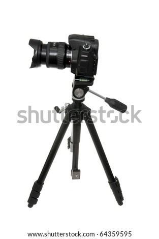 The digital camera with a support isolated on the white - stock photo