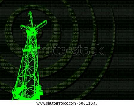 The digital data transmission concept. - stock photo