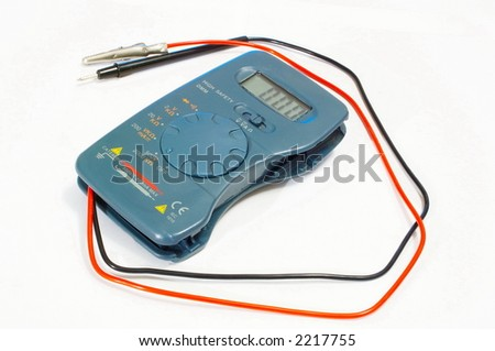 The digital measuring device on a white background - stock photo