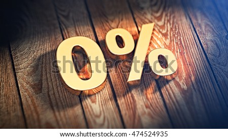 "The digits ""0%"" is lined with gold letters on wooden planks. 3D illustration image"