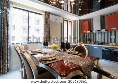 the dining room with luxury decoration