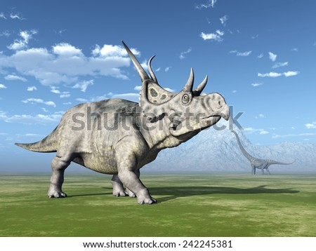 The Dinosaurs Diabloceratops and Mamenchisaurus Computer generated 3D illustration - stock photo