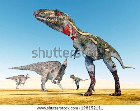 The Dinosaurs Nanotyrannus and Corythosaurus Computer generated 3D illustration - stock photo