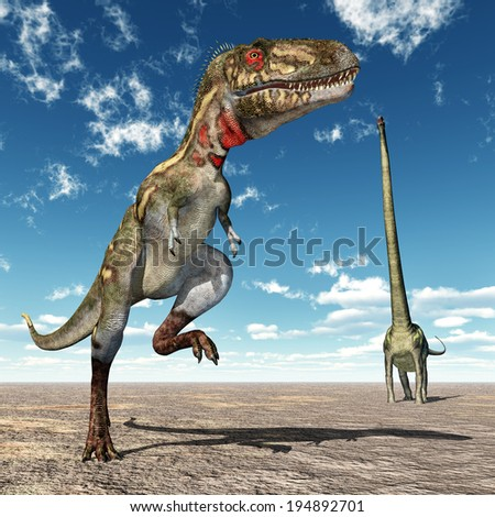 The Dinosaurs Nanotyrannus and Mamenchisaurus Computer generated 3D illustration - stock photo