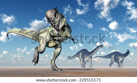 The Dinosaurs Pachycephalosaurus and Apatosaurus Computer generated 3D illustration - stock photo
