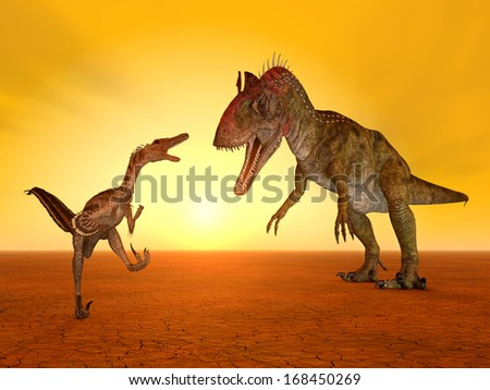 The Dinosaurs Velociraptor and Cryolophosaurus Computer generated 3D illustration - stock photo
