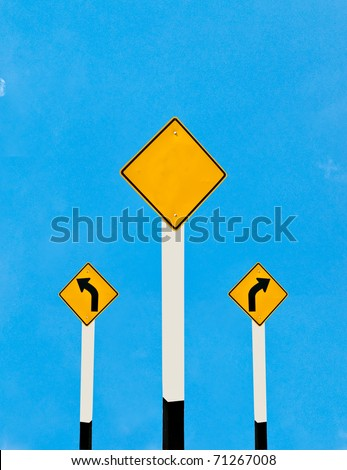 The Direction sign turn left and turn right isolated on blue  background - stock photo