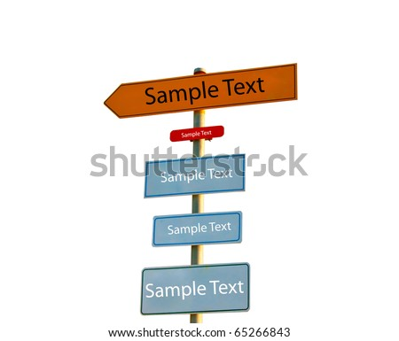 The Direction signs isolated on white background - stock photo