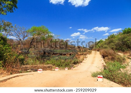The dirt road from Morondava to Bekopaka in Madagascar - stock photo