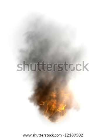 the  disaster fire image isolated rendering - stock photo