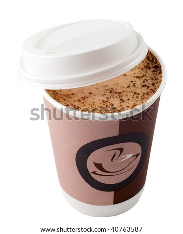 The disposable mug-away of coffee (isolated) - stock photo