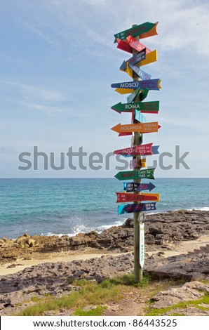The distance to world capitals in Xcaret, Mexico - stock photo