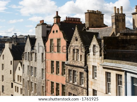 The distinctive gables of Edinburgh, Scotland - stock photo