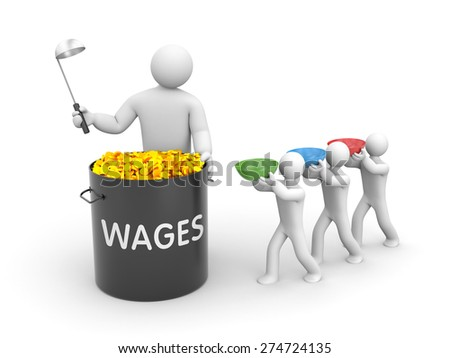 The distribution of wages - stock photo