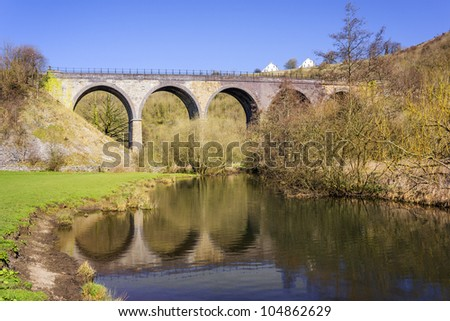the disused railway viaduct at monsal head in monsal dale in the peak district national park derbyshire - stock photo