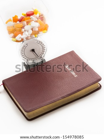 The divine doctor. The Bible and health. Benefits of religion over mental and overall heath. The benefits and good fruits of the word of God - stock photo