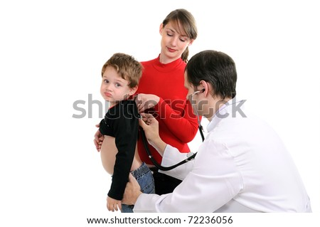 The doctor diagnoses the little boy. Isolated on white - stock photo