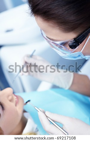 The doctor examines the patient's - stock photo