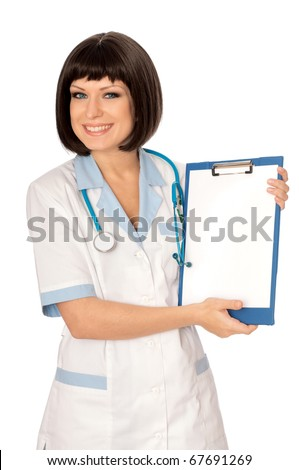The doctor holding clipboard with blank paper in the hand