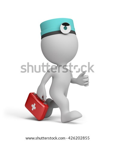 The doctor with the first-aid kit in a hurry to the patient on call. 3d image. White background.