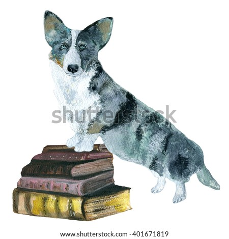 The dog and books. watercolor drawing. Can be used for postcards, prints and design