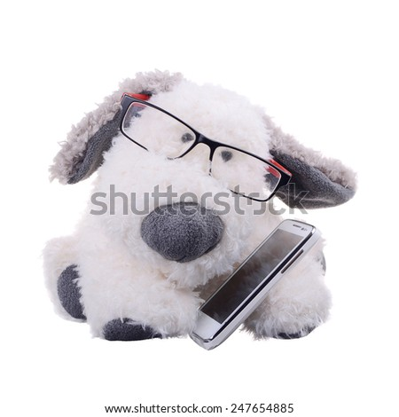 the dog with the phone - stock photo