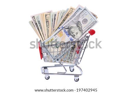 The dollar bill in the shopping trolley