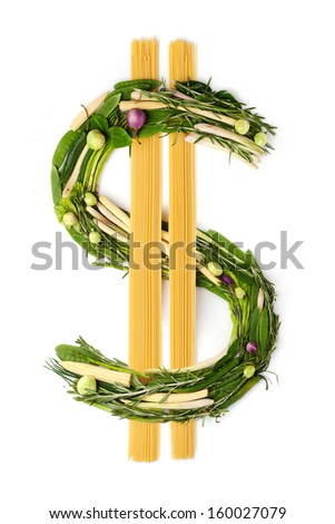 The dollar sign made of green vegetables and noodle. - stock photo