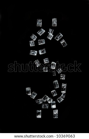 The dollar symbol which has been laid out by crystals, on a black background - stock photo