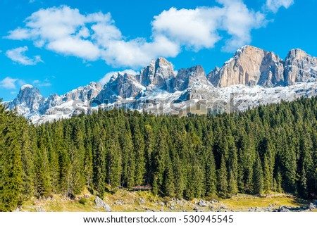 The Dolomites mountain range at Lake Karersee (Carezza), South Tyrol, Italy.