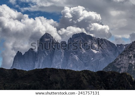 The Dolomites, Mt.Agner and Lastei d'Agner.  The Pale di San Martino massif.  Italy. - stock photo