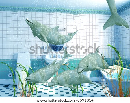 the dolphins in bathroom interior (3D rendering) - stock photo
