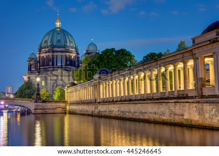 The Dom and the island of museums in Berlin at night - stock photo