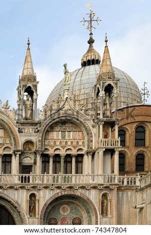 The dome and adjacent towers of St Mark's Basilica, Venice, Italy - stock photo