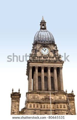 The Dome and Clock Tower of Leeds Town Hall Leeds Yorkshire - stock photo