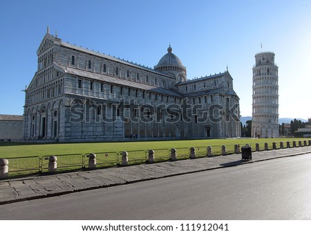 the dome and the leaning tower of Pisa - Italy - No works in progress - stock photo