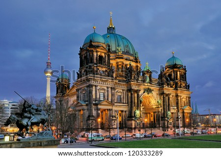 The Dome of Berlin at night, Germany