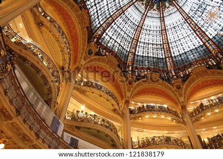 The Dome of Galeries Lafayette Paris - stock photo